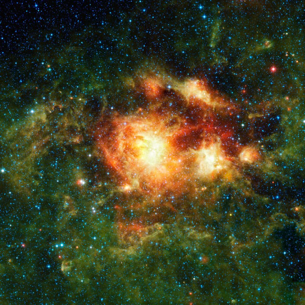 This infrared image taken by NASA's Wide-field Infrared Survey Explorer shows a star-forming cloud teeming with gas, dust and massive newborn stars.
