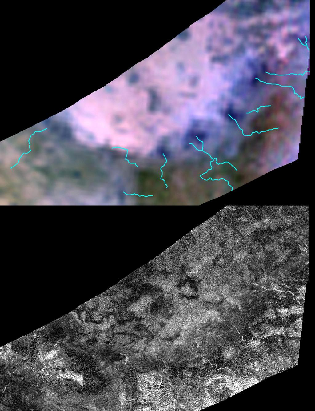 Two different instruments on NASA's Cassini spacecraft combined their observations to create a more detailed portrait of the Hotei Regio area on Saturn's moon Titan. Blue lines on top show the location of channels that stand out in the bottom of image.