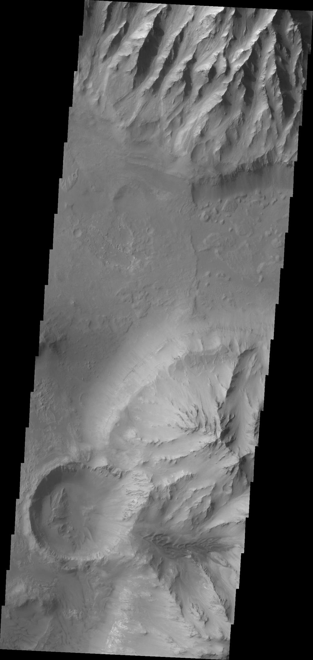 Spurs and gullies form the cliff sides of the Vallis Marineris chasmata at top of this image captured by NASA's 2001 Mars Odyssey spacecraft. Sand dunes at the bottom of image are a common feature on the floors of the chasmata.