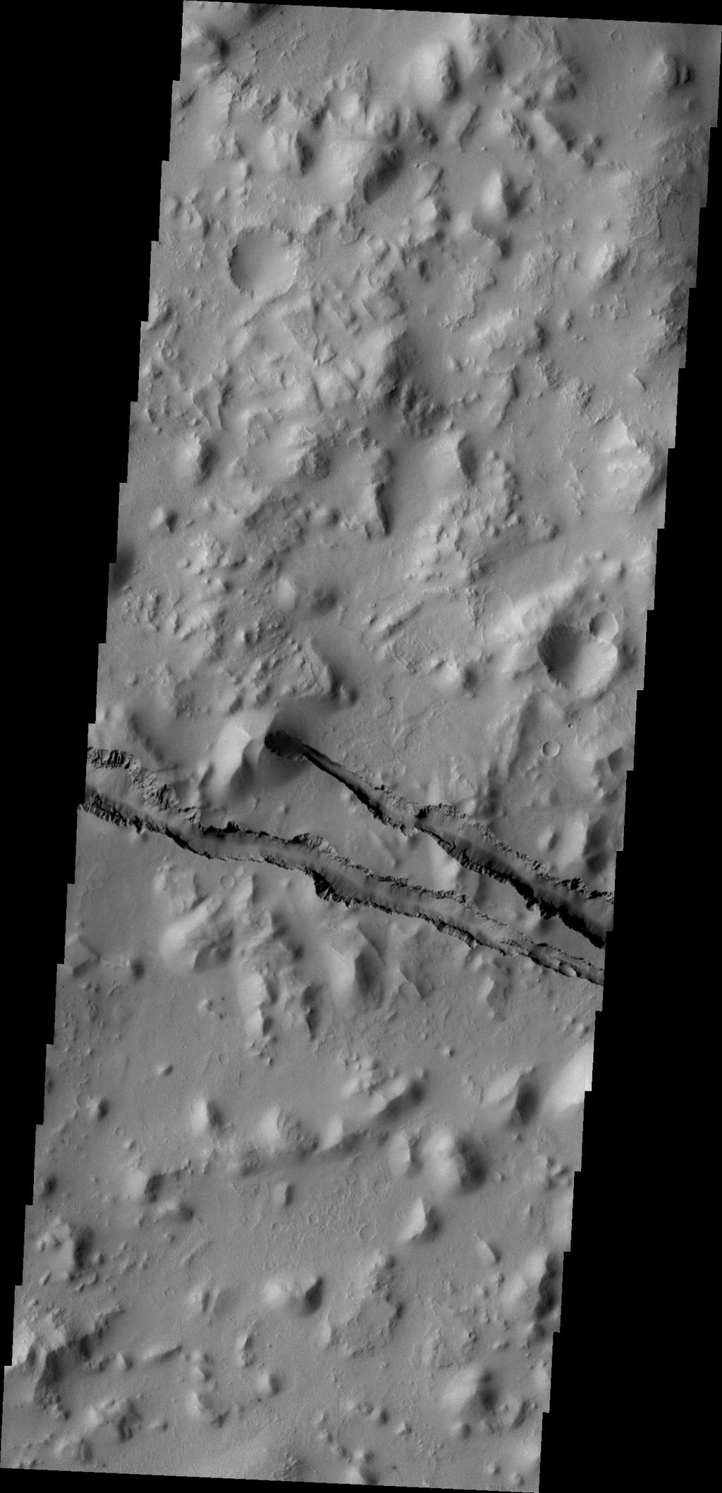 The fractures in this image taken by NASA's 2001 Mars Odyssey spacecraft are part of Cerberus Fossae.