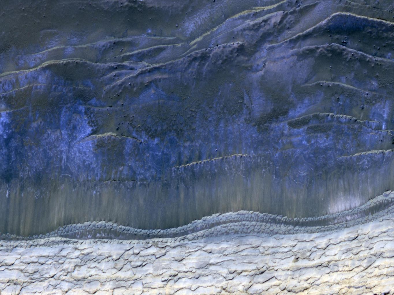 This image from NASA's Mars Reconnaissance Orbiter shows the scarp that demarcates the boundary between layered deposits covering the north polar region and the lower surrounding terrain, which includes sand dunes. Original release date March 3, 2010.