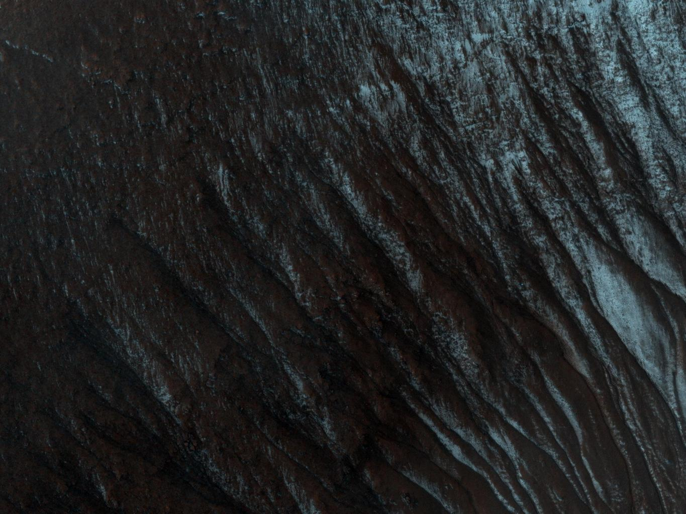This image from NASA's Mars Reconnaissance Orbiter shows part of an unnamed crater, itself located inside the much larger Newton Crater, in Terra Sirenum. Original release date March 3, 2010.