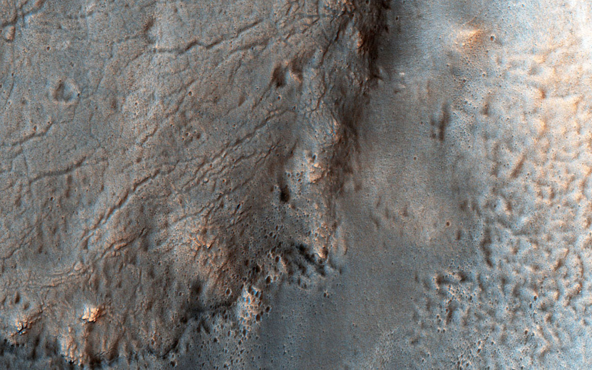 This image captured by NASA's Mars Reconnaissance Orbiter shows ancient highland channels in Eridania Valley.