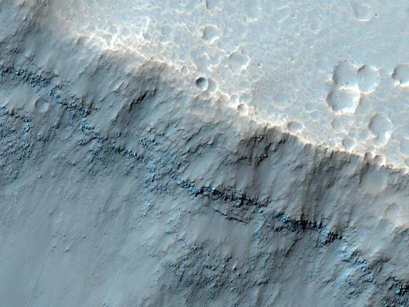 This image taken by NASA's Mars Reconnaissance Orbiter reveals meter-scale (yard-scale) surface textures of mesas and knobs in the Aureum Chaos region of Mars. Aureum Chaos is a wide region of plateaus, mesas, and knobs.