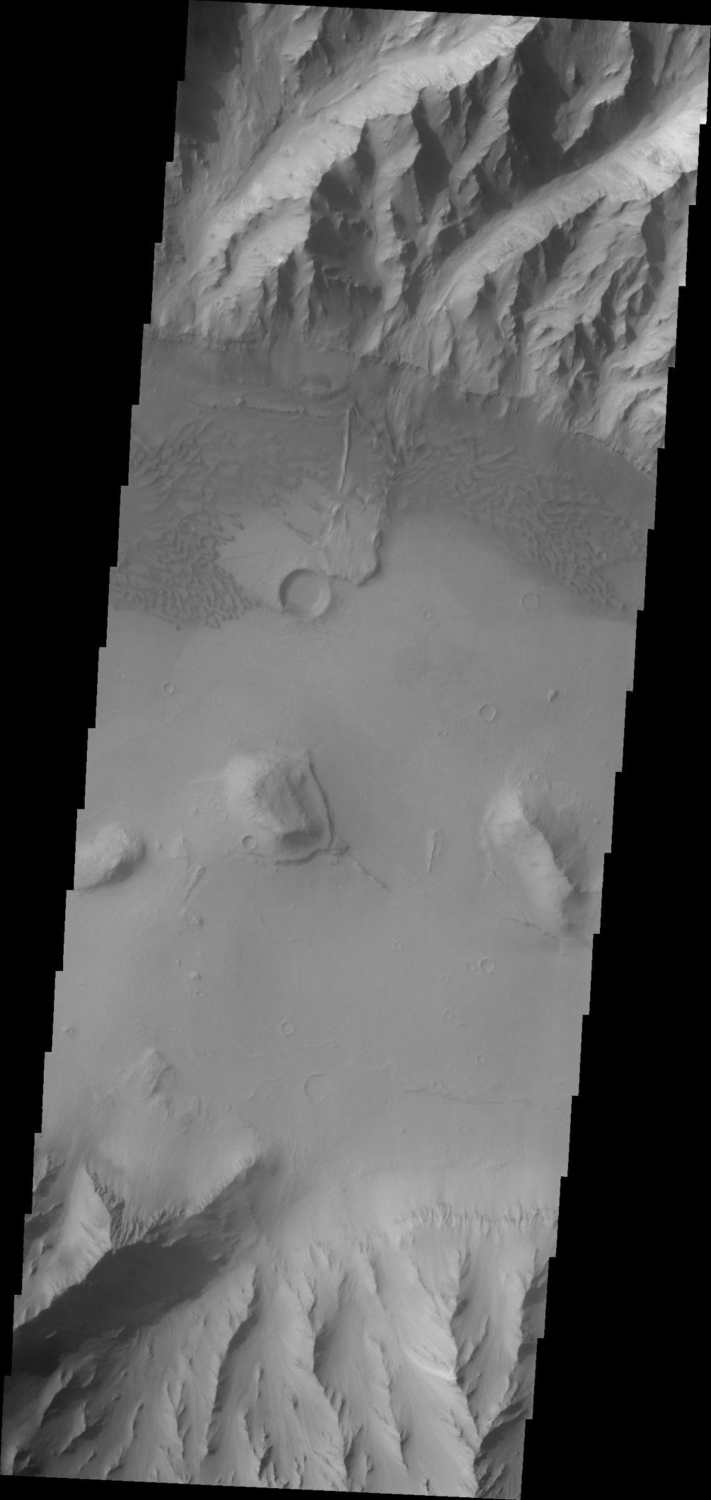 This image taken by NASA's 2001 Mars Odyssey of the eastern end of Coprates Chasma contains a landslide deposit and sand dunes. Both features are typical for the chasmata that make up Valles Marineris.