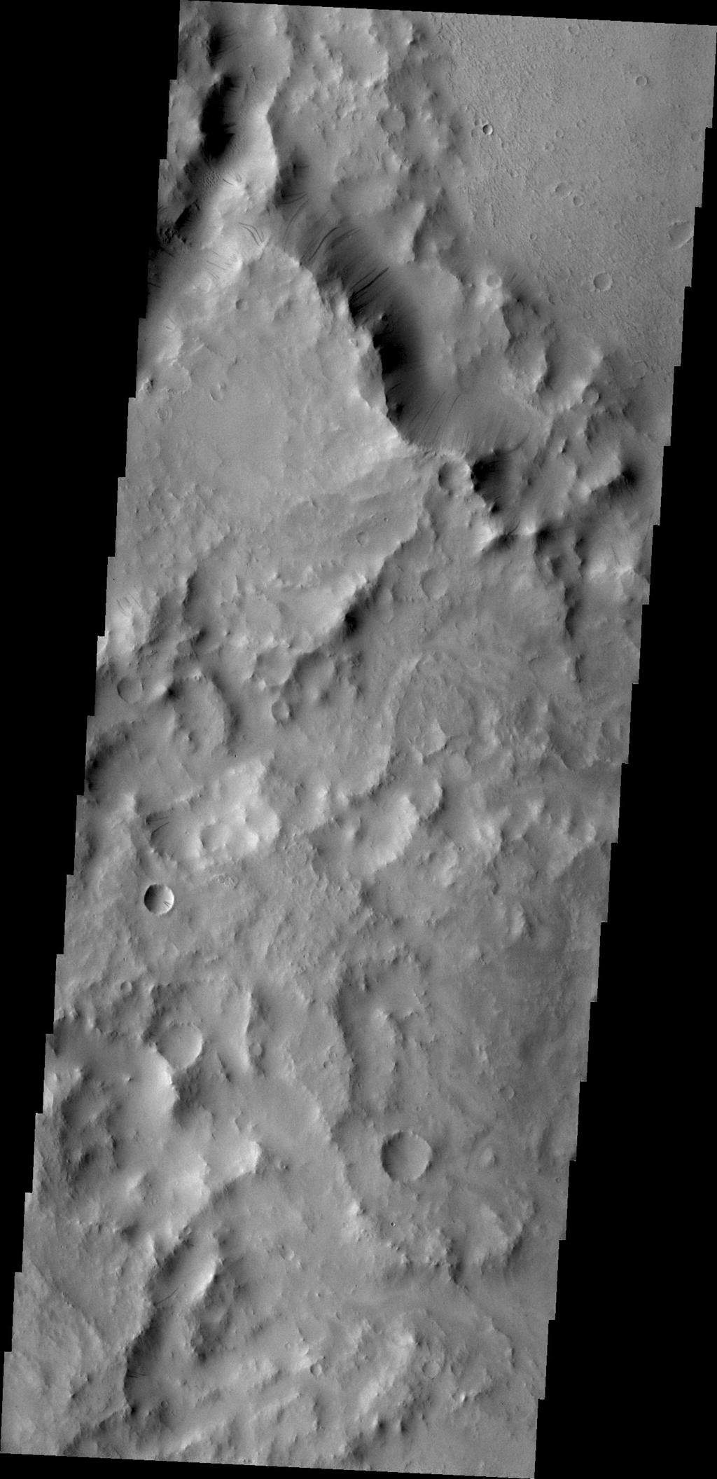 Dark slope streaks mark this crater rim in this image taken by NASA's 2001 Mars Odyssey. The crater is located within the much larger Tikhonravov Crater in Arabia Terra.