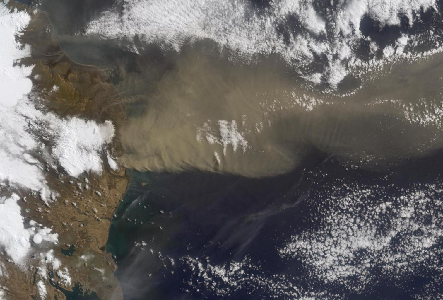 NASA's Terra satellite flew directly over Iceland on April 19, 2010 and captured this image of the Eyjafjallajökull volcano and its erupting ash plume.