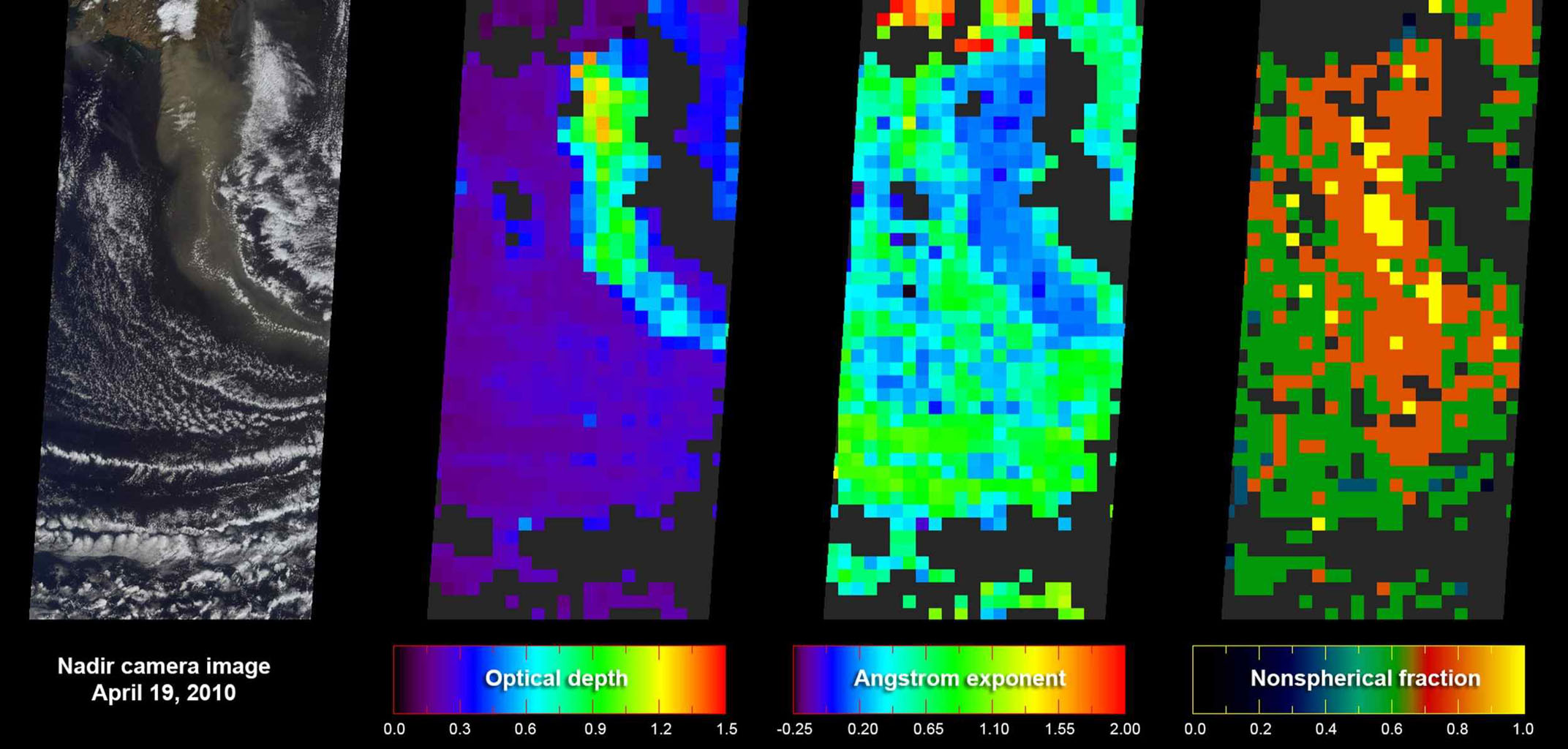 As NASA's Terra satellite flew over Iceland's erupting Eyjafjallajökull volcano, its Multi-angle Imaging SpectroRadiometer instrument acquired 36 near-simultaneous images of the ash plume, covering nine view angles in each of four wavelengths.