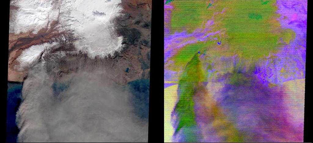 This image from NASA's Terra spacecraft shows the ash plume of Iceland's Eyjafyallajökull Volcano on April 19, 2010. The eruption plume and drifting veil of ash appear to be homogeneous.