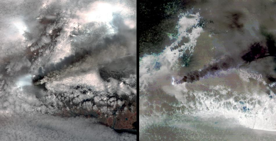 NASA's Terra spacecraft captured this pair of images of Iceland's Eyjafyallajökull volcano on May 3, 2010. On this day, Ireland closed its airspace for several hours due to presence of ash over the country.