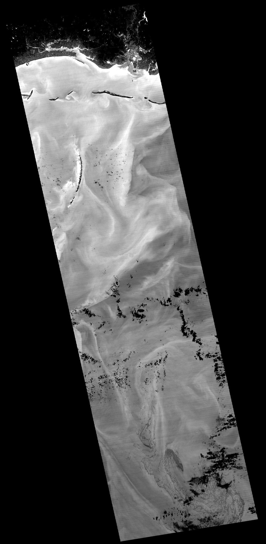 NASA's Terra spacecraft captured this image of the growing oil spill in the Gulf of Mexico on May 7, 2010. The thickest parts of the oil spill appear as dark grey, filamentous masses in the southern part of the image, extending off of the bottom.