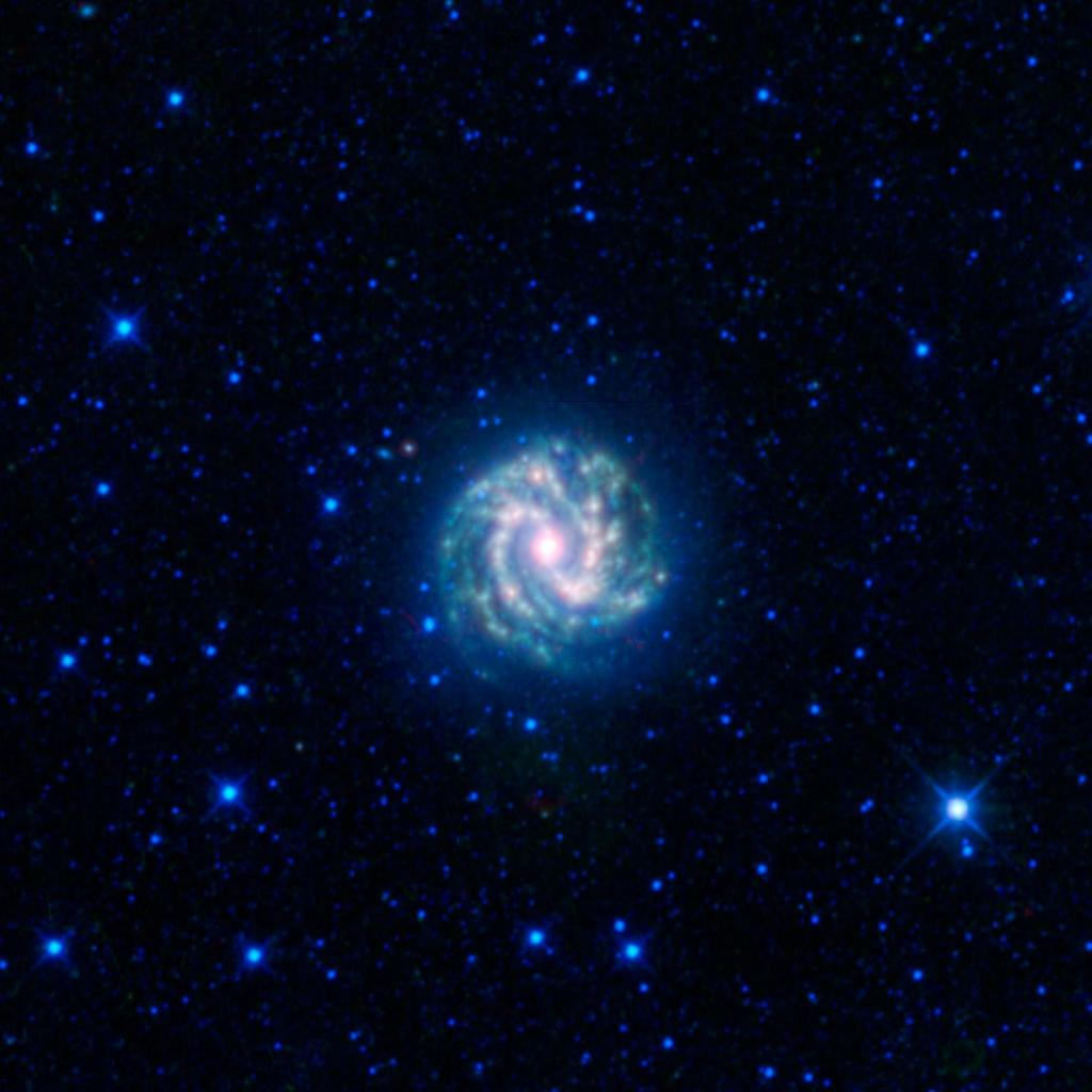 This image from NASA's Wide-field Infrared Survey Explorer shows the nearby galaxy M83. This is a spiral galaxy approximately 15 million light-years away in the constellation Hydra, sometimes referred to as the southern Pinwheel galaxy.