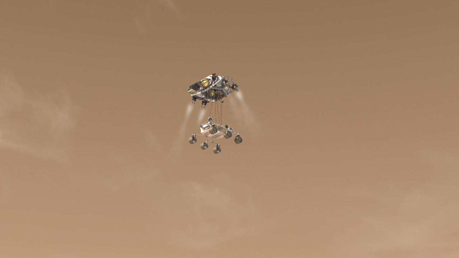 This artist's concept depicts Curiosity, the rover to be launched in 2011 by NASA's Mars Science Laboratory, as it is being lowered by the mission's rocket-powered descent stage during a critical moment of the 'sky crane' landing in 2012.