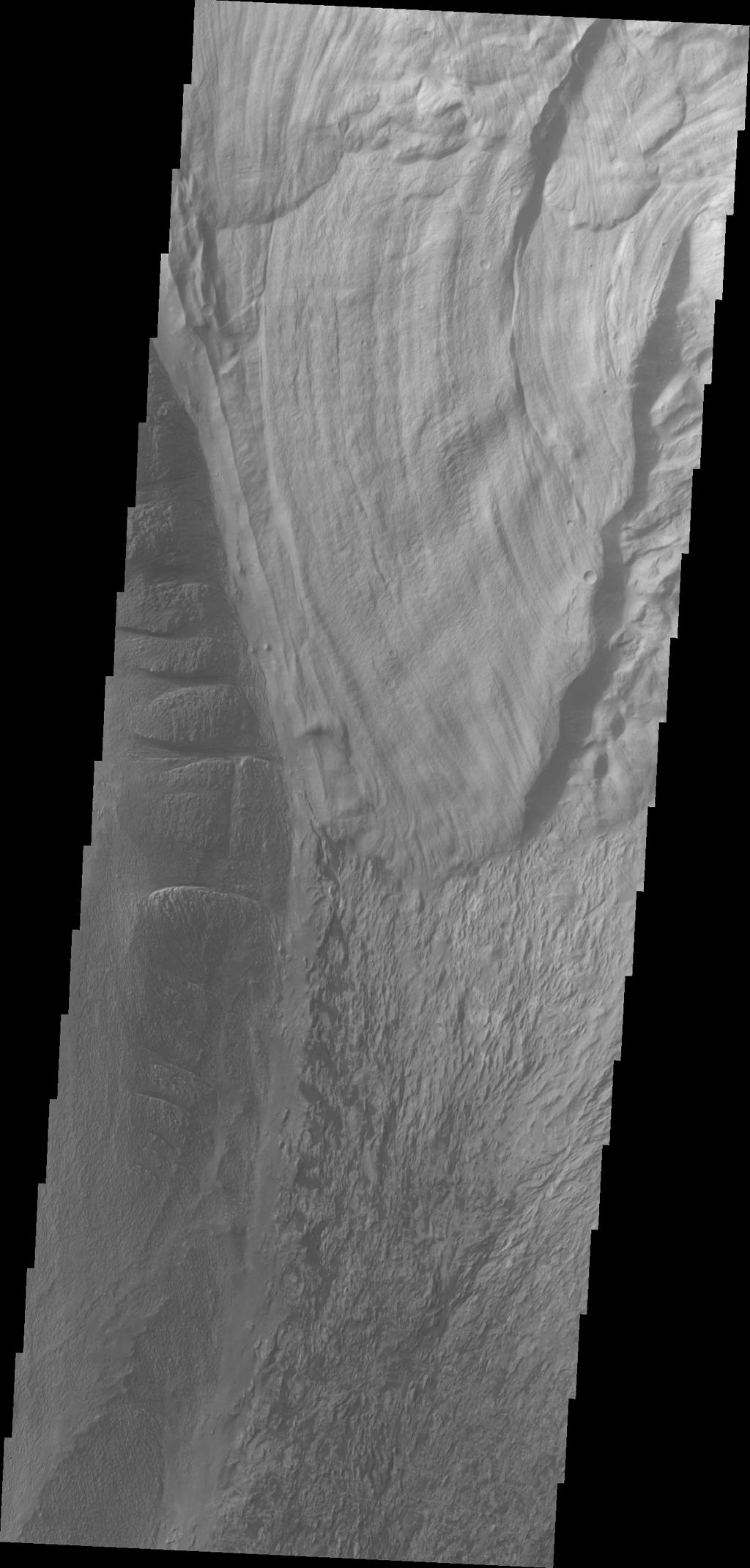 This image from NASA's 2001 Mars Odyssey shows a landslide deposit in Ophir Chasma.