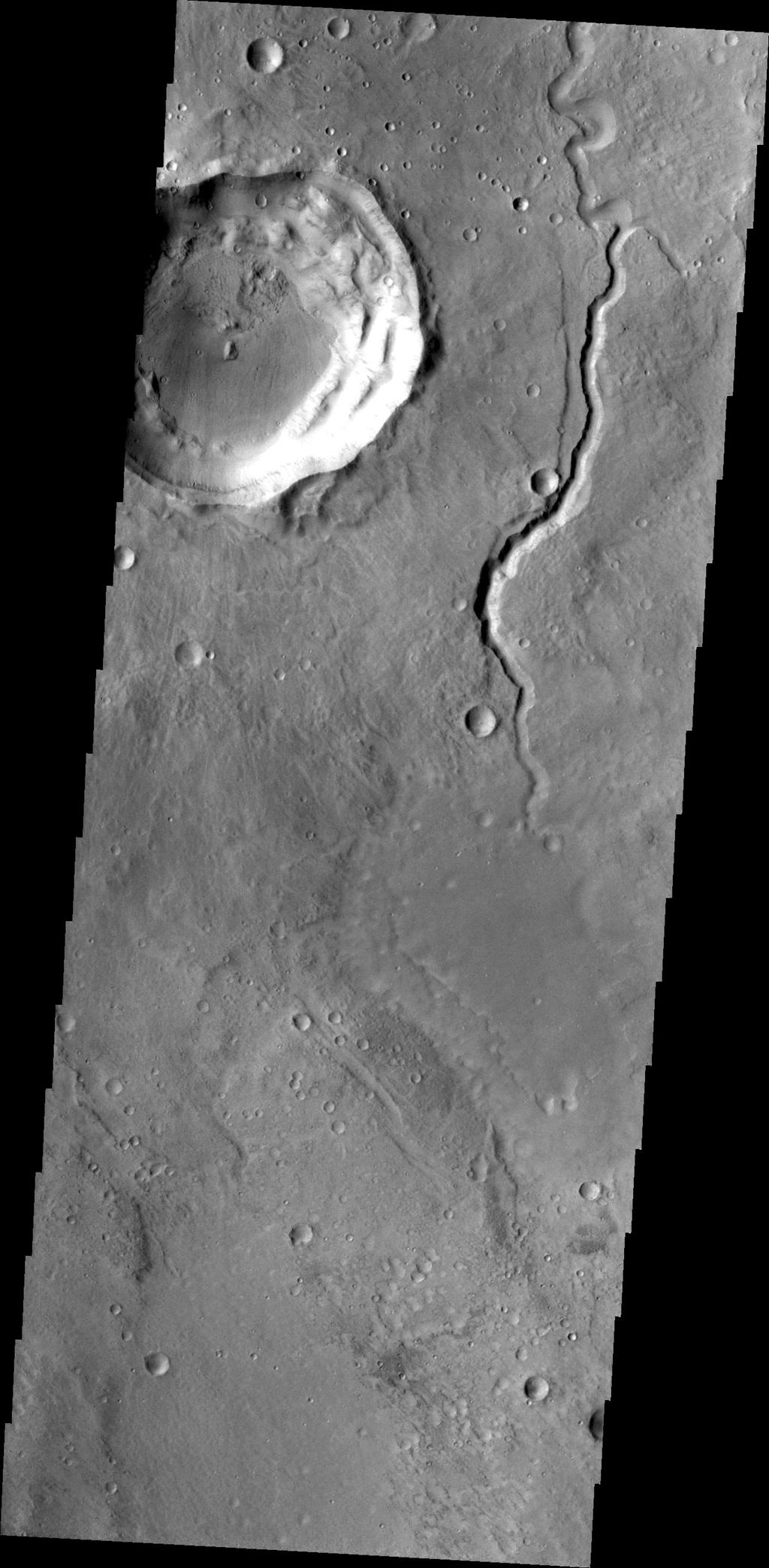 This image captured by NASA's 2001 Mars Odyssey shows a small channel located on the northern margin of Arabia Terra.