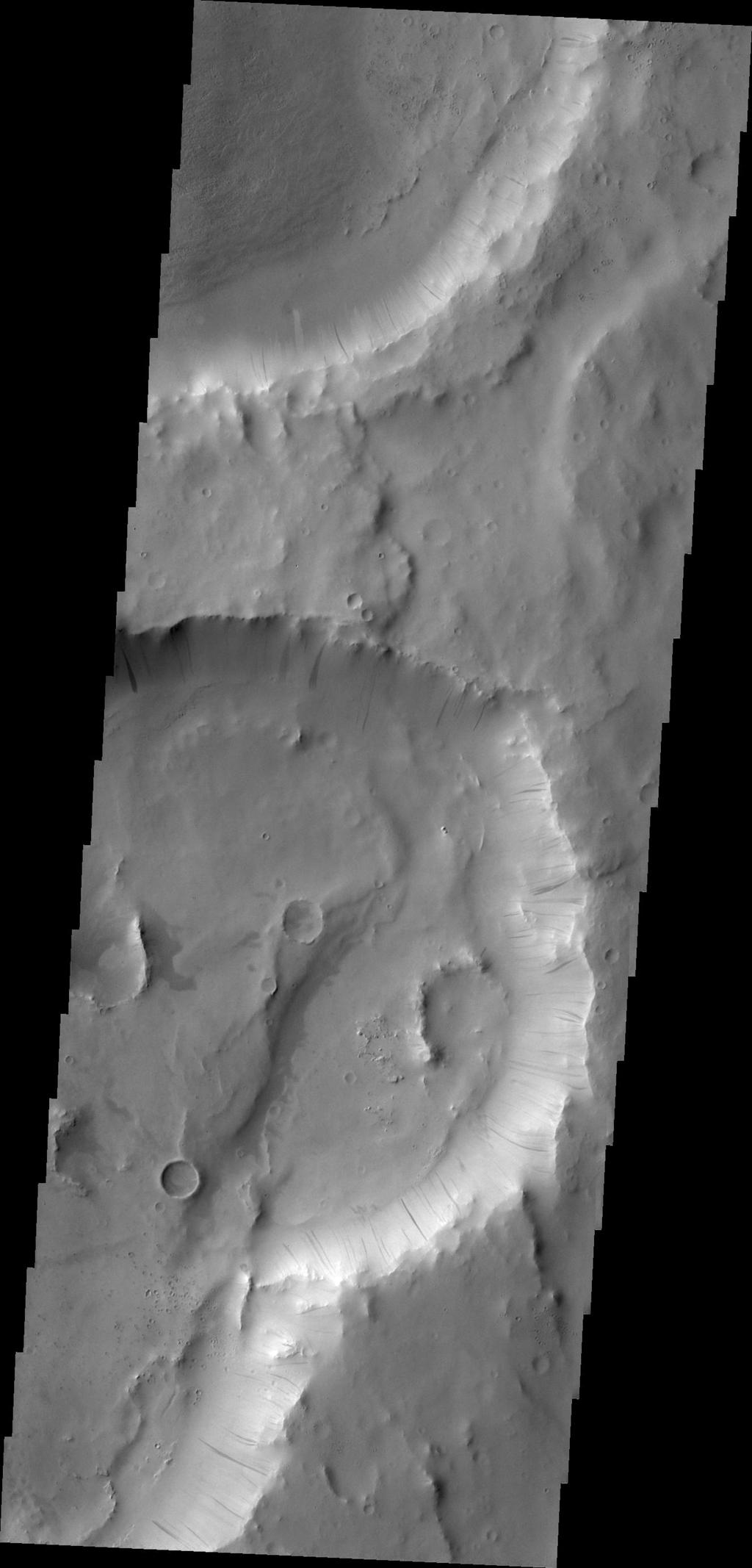 Dark slope streaks are visible on the rim of this crater in Terra Sabaea in this image captured by NASA's 2001 Mars Odyssey.