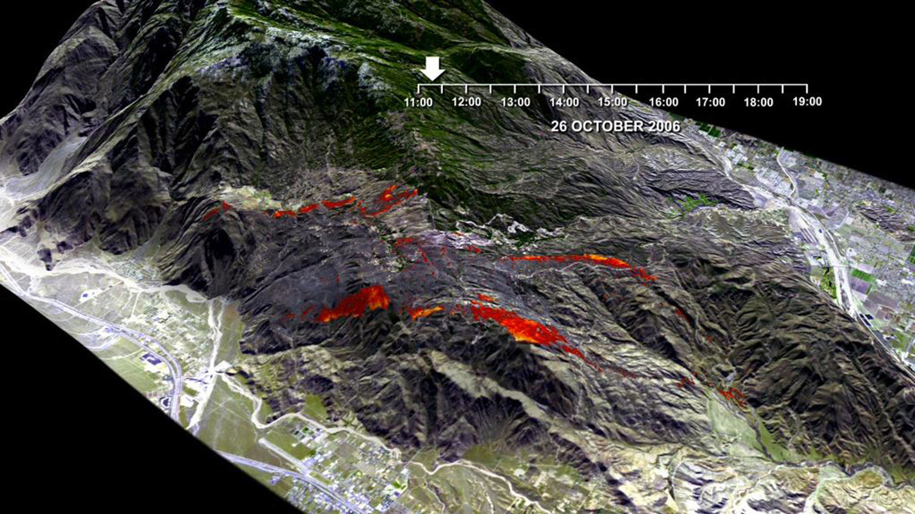 This frame is from a visualization of the rapid advance of the Esperanza Fire over the San Jacinto Mountains (Riverside County, CA) between 11:00 AM and 7:00 PM on October 26, 2006.