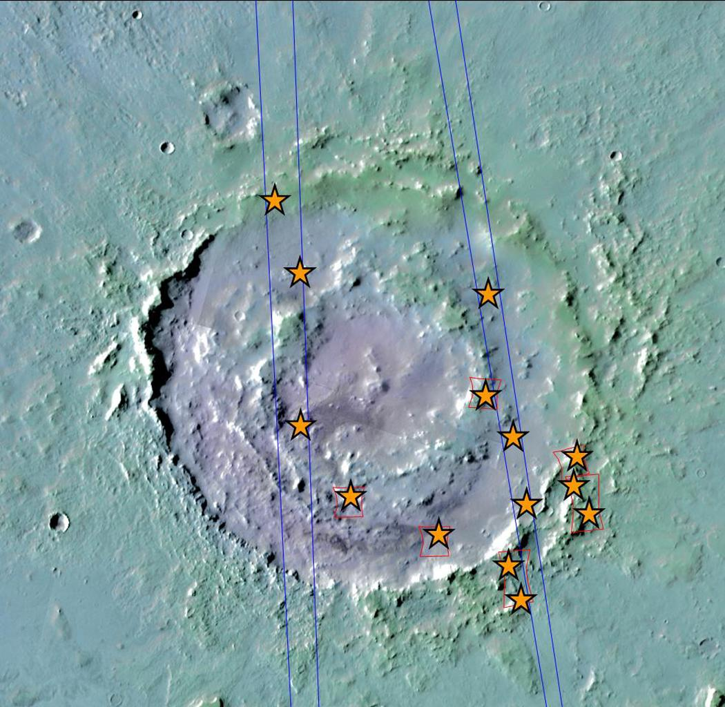 This view of Lyot Crater is a combined mapping by NASA's Project Viking with elevation information from Mars Global Surveyor showing at least one of the nine craters in the northern lowlands of Mars with exposures of hydrated minerals detected from orbit.