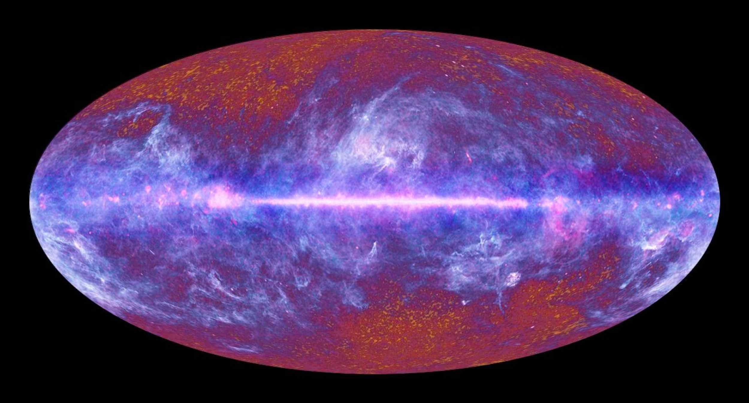 This image of the microwave sky was synthesized using data spanning the range of light frequencies detected by ESA's Planck. A vast portion of the sky is dominated by the diffuse emission from gas and dust in our Milky Way galaxy.