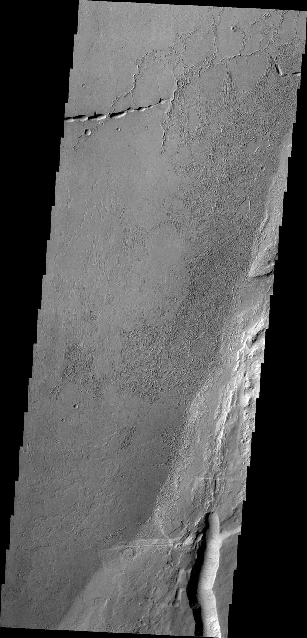 Echus Chasma separates the Tharsis region from Lunae Planum. This image from NASA's 2001 Mars Odyssey shows volcanic flow materials from Tharsis within the chasma.