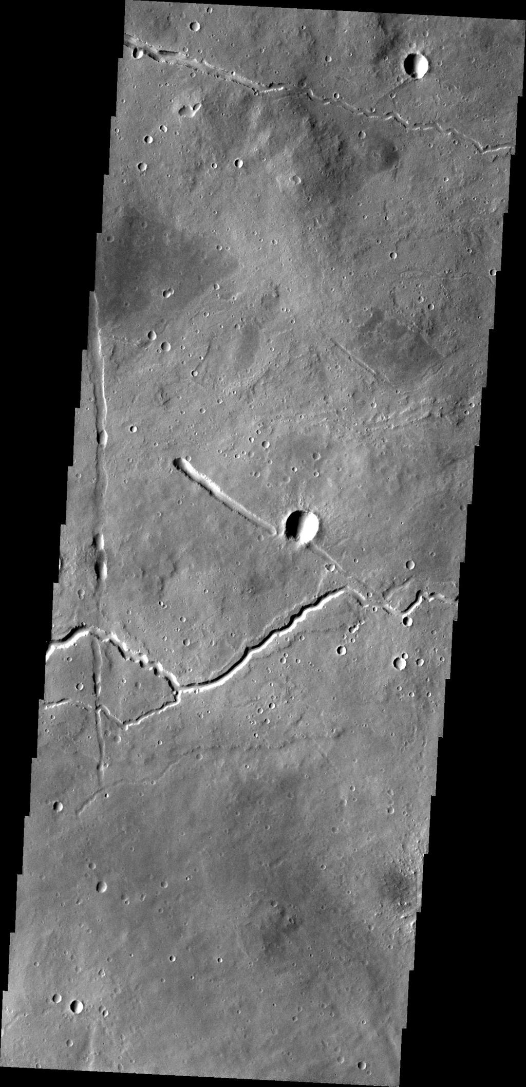 Ituxi Vallis is a lava channel located on the eastern side of Elysium Mons in this image captured by NASA's 2001 Mars Odyssey.