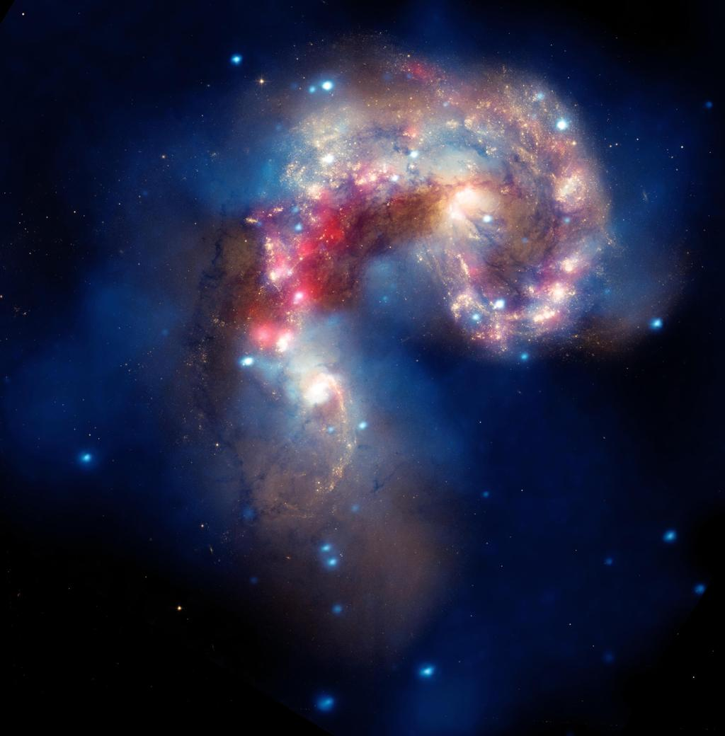 This image of two tangled galaxies has been released by NASA's Great Observatories. The Antennae galaxies are shown in this composite image from the Chandra X-ray Observatory, the Hubble Space Telescope, and the Spitzer Space Telescope.
