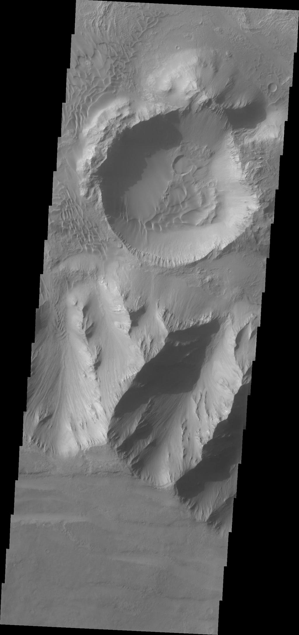 A sandsheet with dune forms covers most of the floor of this unnamed crater within Coprates Chasma in this image captured by NASA's Mars Odyssey on June 23, 2010.