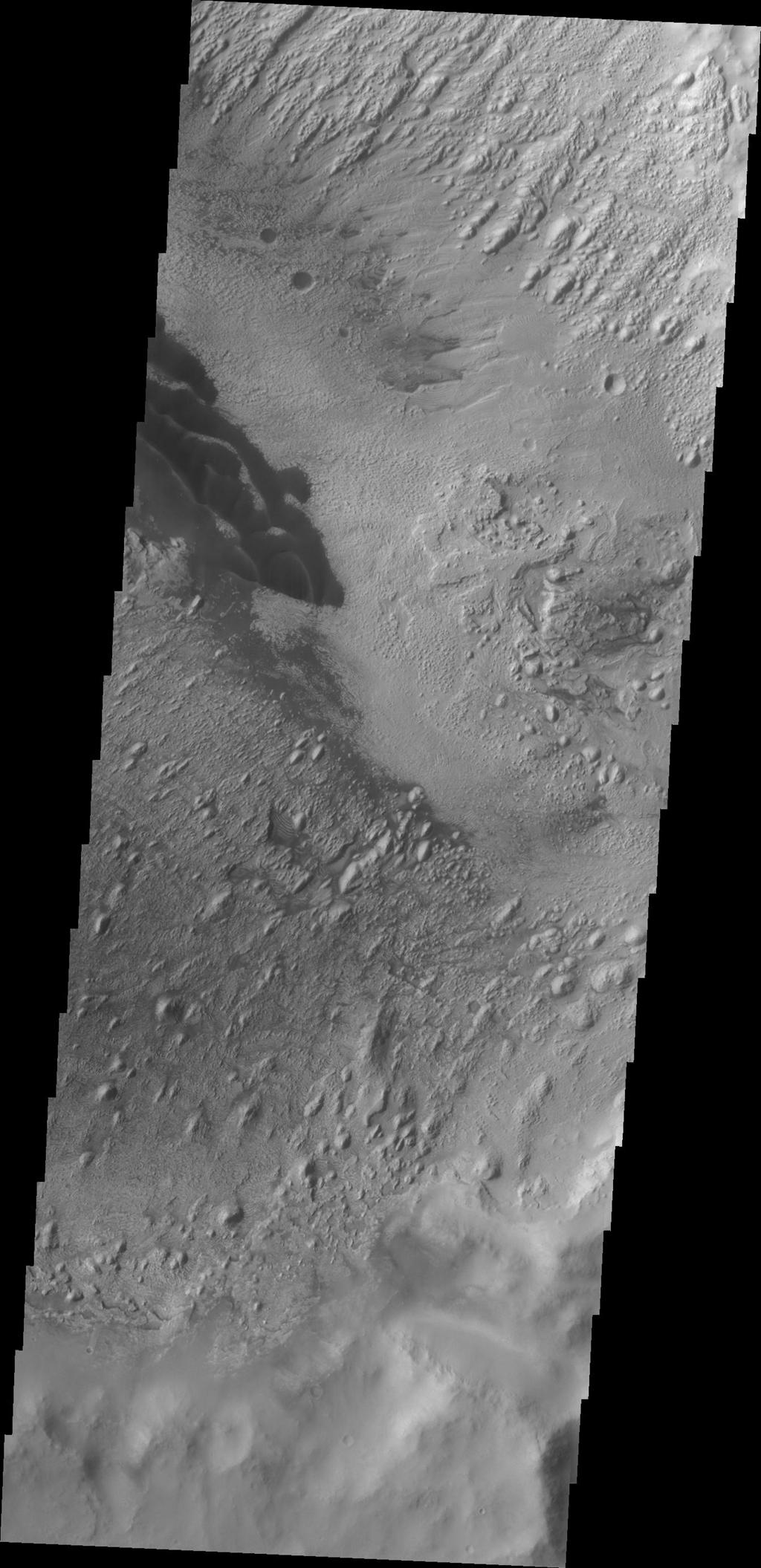 These dark dunes captured by NASA's 2001 Mars Odyssey are located on the floor of Danielson Crater in Meridiani Planum.