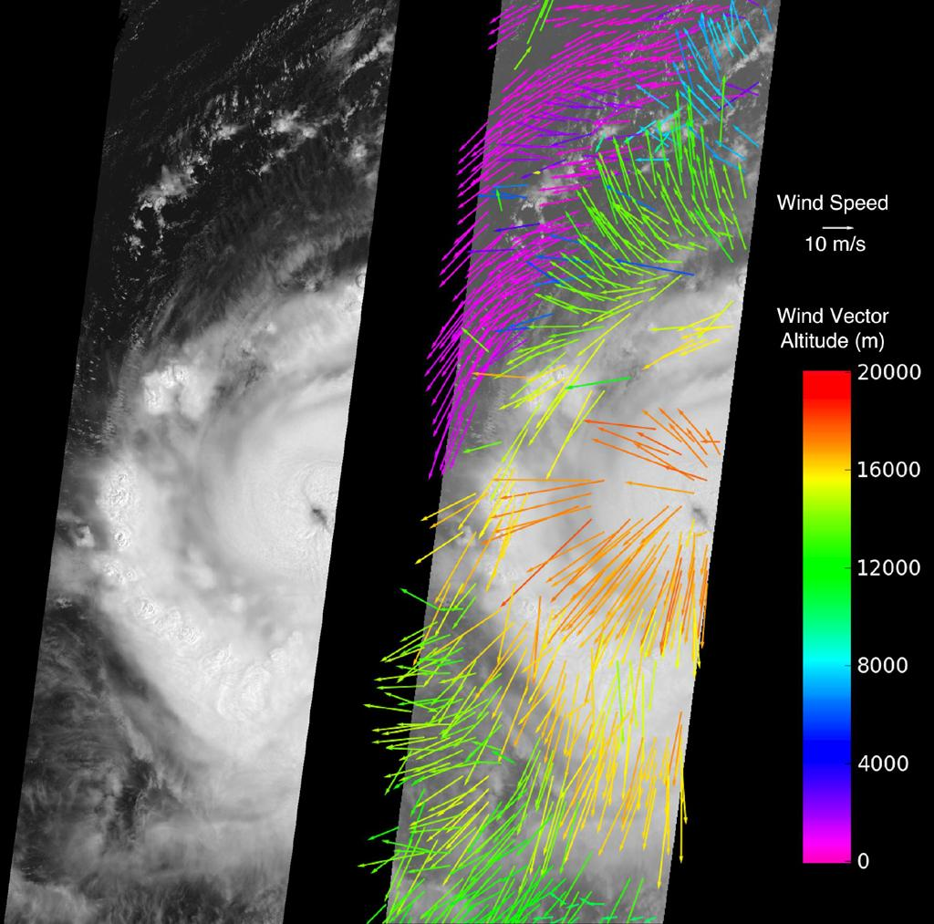 NASA's Multi-angle Imaging SpectroRadiometer instrument captured this image of Hurricane Earl Aug. 30, 2010. At this time, Hurricane Earl was a Category 3 storm. The hurricane's eye is just visible on the right edge of the MISR image swath.