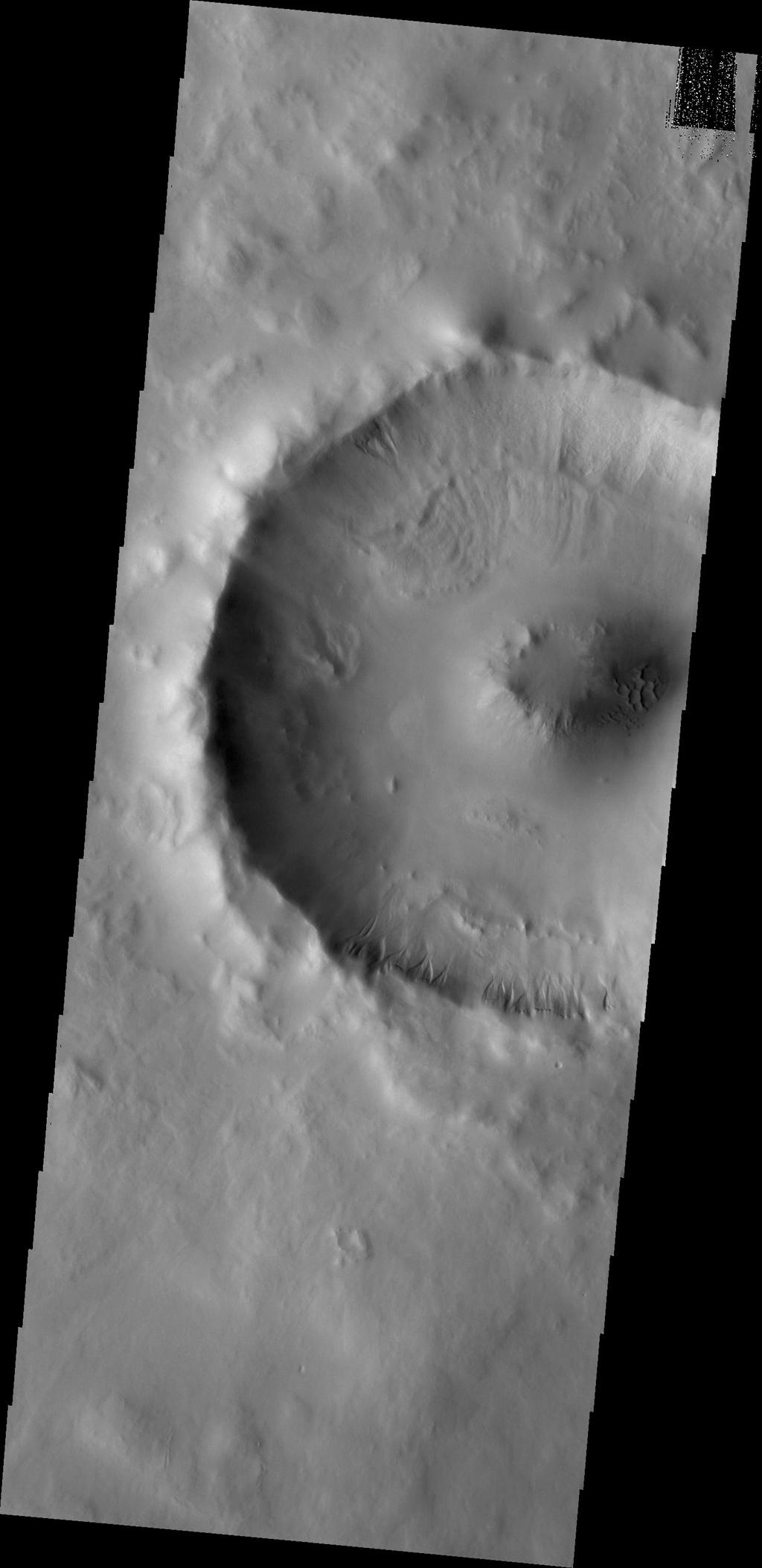Small gullies mark the rim of this unnamed crater in Utopia Planitia in this image from NASA's Mars Odyssey.