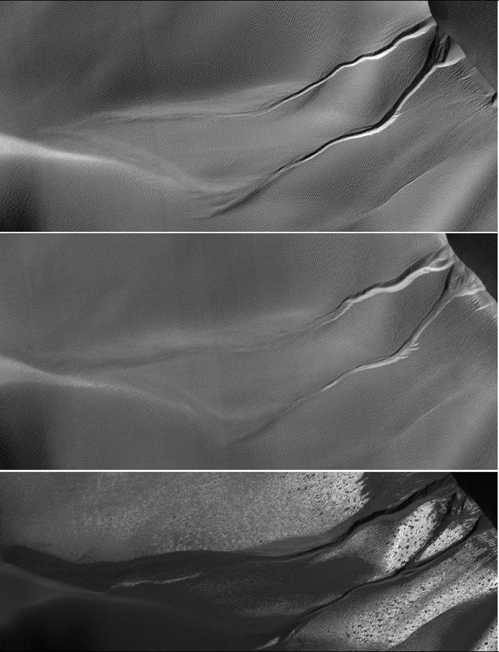 The gullies on a Martian sand dune in this trio of images from NASA's Mars Reconnaissance Orbiter deceptively resemble features on Earth that are carved by streams of water. The dunes lie inside Matara Crater.