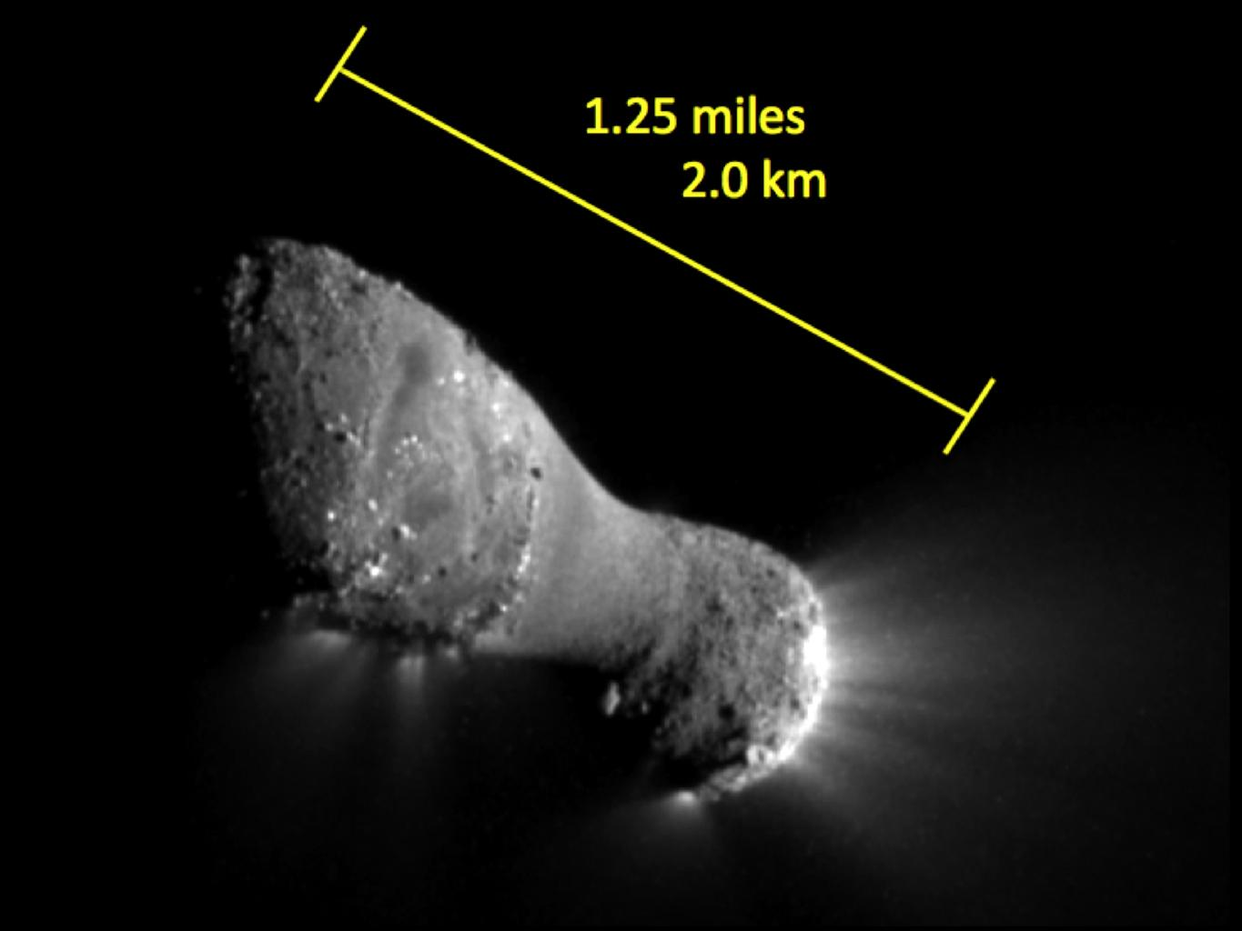 This image, one of the closest taken of comet Hartley 2 by NASA's EPOXI mission, shows many features across the comet's surface. The length of the comet is equal to the distance between the Capitol building and the Washington Monument in Washington.