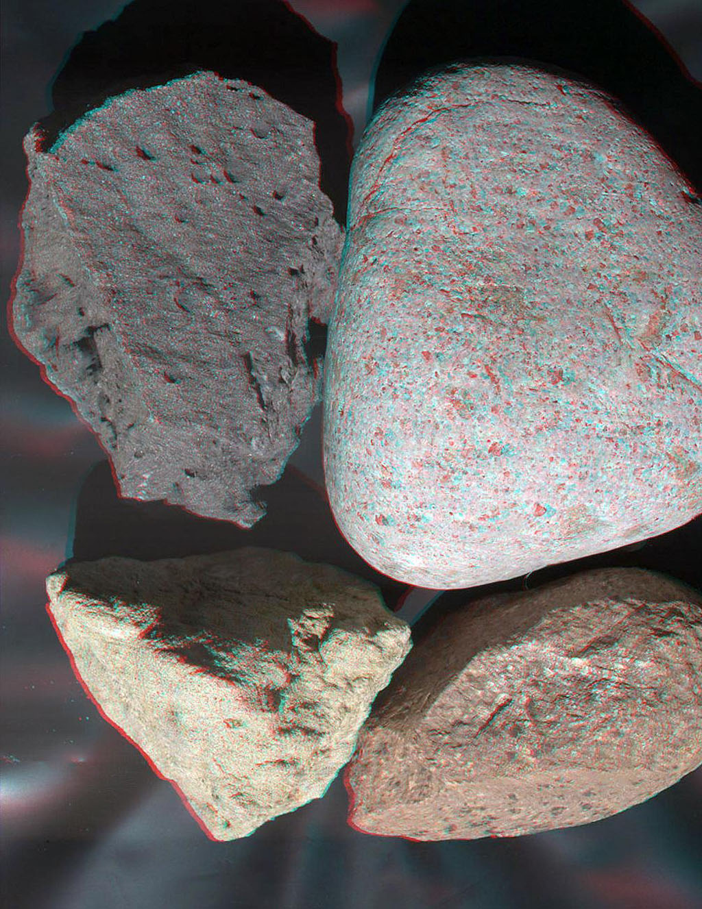 This stereo view of terrestrial rocks combines two images taken by a testing twin of the Mars Hand Lens Imager (MAHLI) camera on NASA's Mars Science Laboratory. 3D glasses are necessary to view this image.