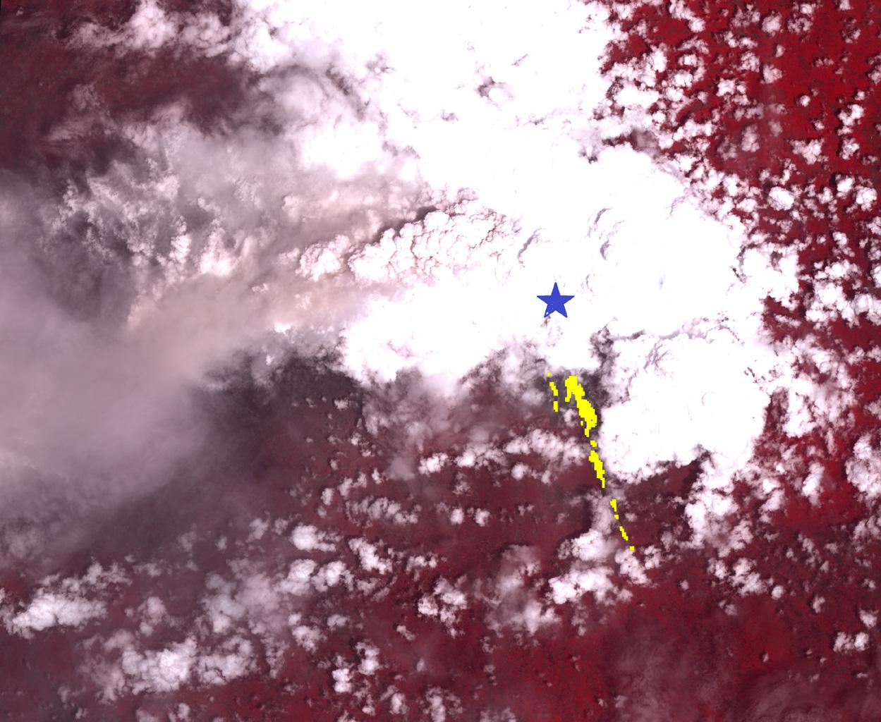 On Nov. 8, 2010, the ASTER instrument onboard NASA's Terra spacecraft captured an image of the hot volcanic flows from Merapi volcano that resulted from continued collapse of the summit lava dome, and the ensuing release of ash plumes.