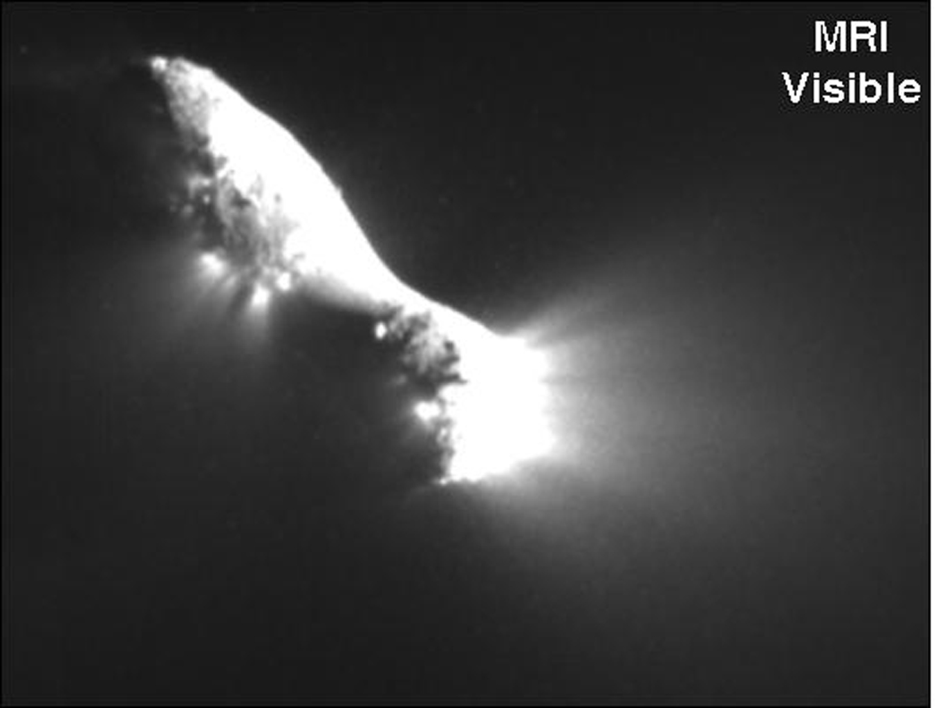 Infrared scans of comet Hartley 2 by NASA's EPOXI mission spacecraft show carbon dioxide, dust, and ice being distributed in a similar way and emanating from apparently the same locations on the nucleus.