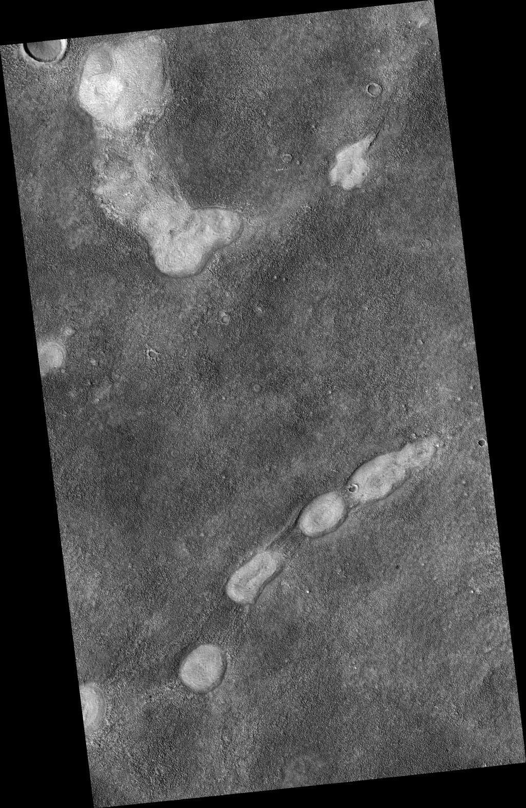 This image from NASA's Mars Reconnaissance Orbiter is a proposed future Mars landing site in Acidalia Planitia targets densely occurring mounds thought to be mud volcanoes.