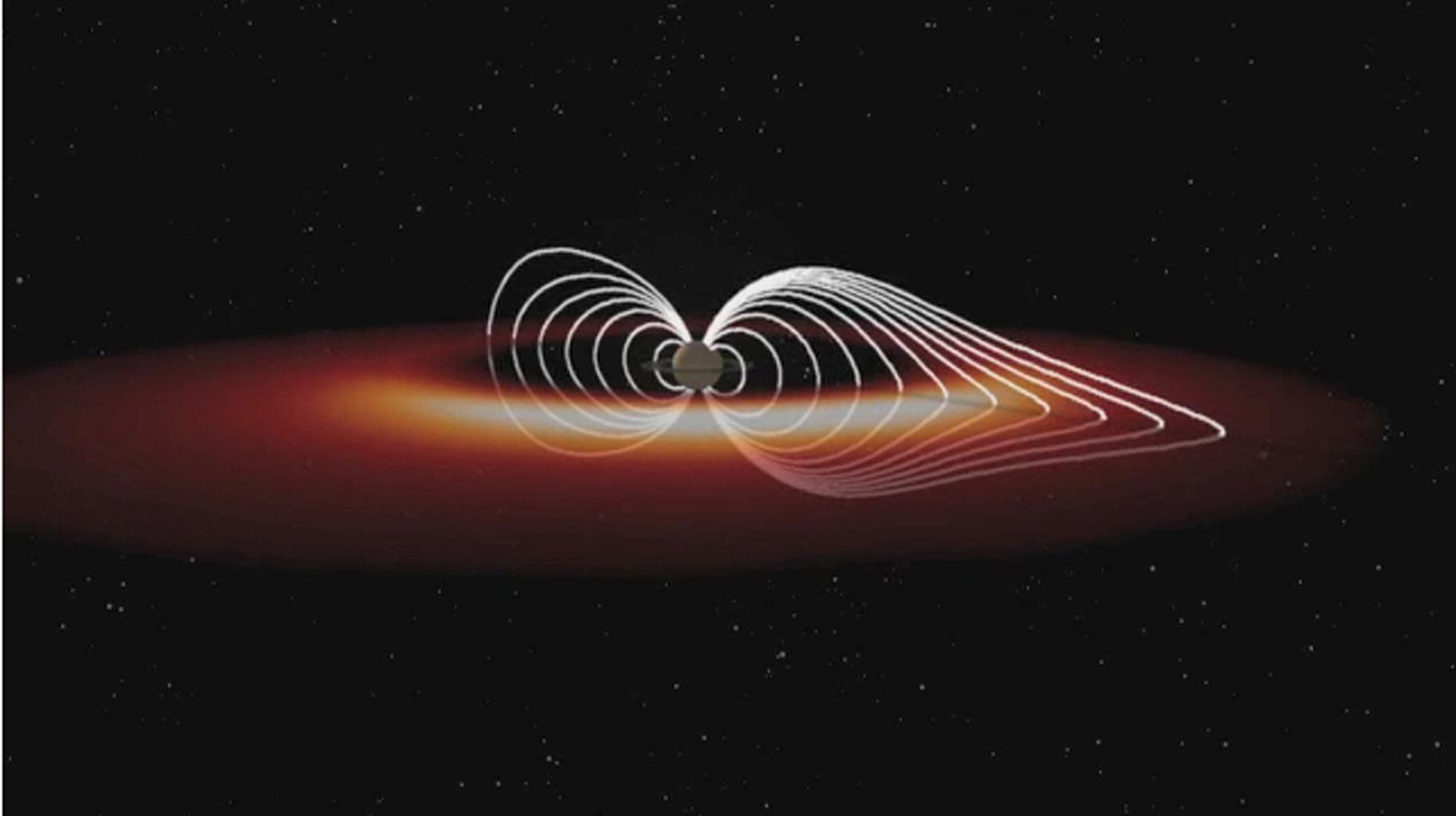 "This frame from an animation based on data obtained by NASA's Cassini spacecraft shows how the ""explosions"" of hot plasma on the night side (orange and white) periodically inflate Saturn's magnetic field (white lines)."