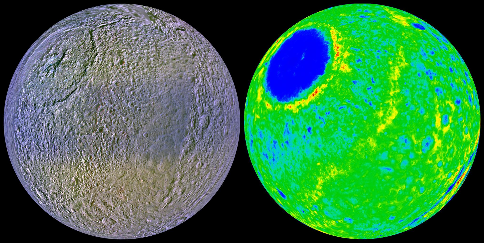 These two views of Tethys show the high-resolution color (left) and the topography (right) of the leading, or forward-facing, hemisphere of this ice-rich satellite. Data for these images is from NASA's Cassini spacecraft.