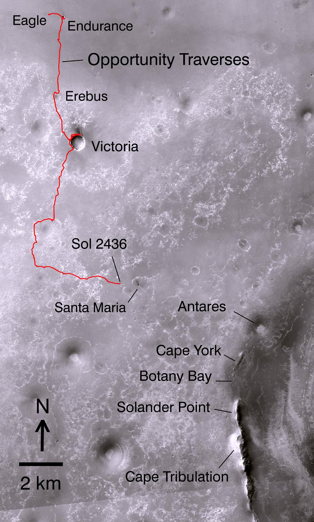 The red line on this map shows where NASA's Mars Rover Opportunity has driven from the place where it landed in January 2004, inside Eagle Crater, at the upper left end of the track, to where it reached on Nov. 30, 2010.