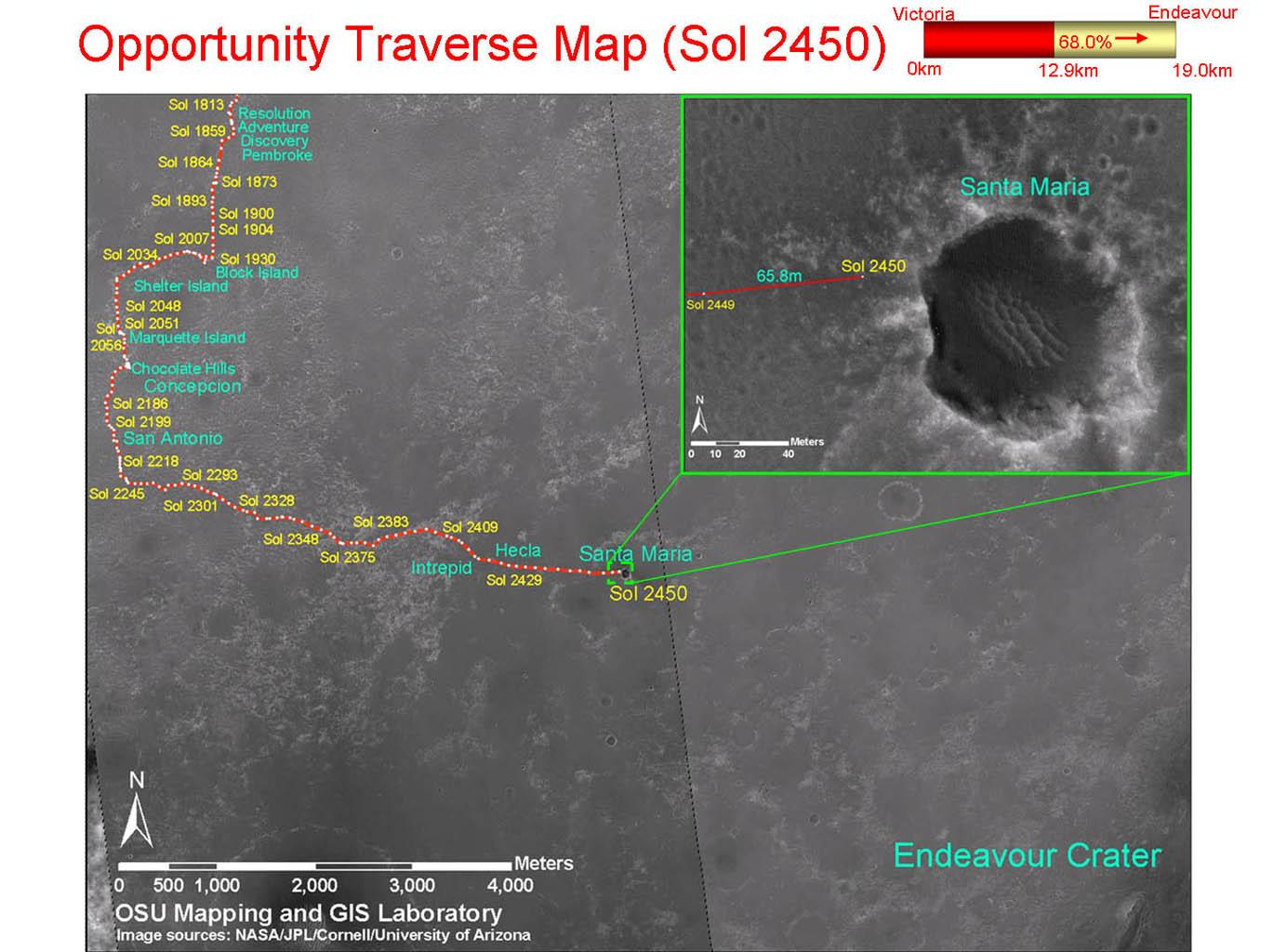 This map shows the path that NASA's Mars Exploration Rover Opportunity followed from the 1,813th Martian day, or sol, to Sol 2450 (Dec. 15, 2010) when Opportunity approached a crater informally named 'Santa Maria.'