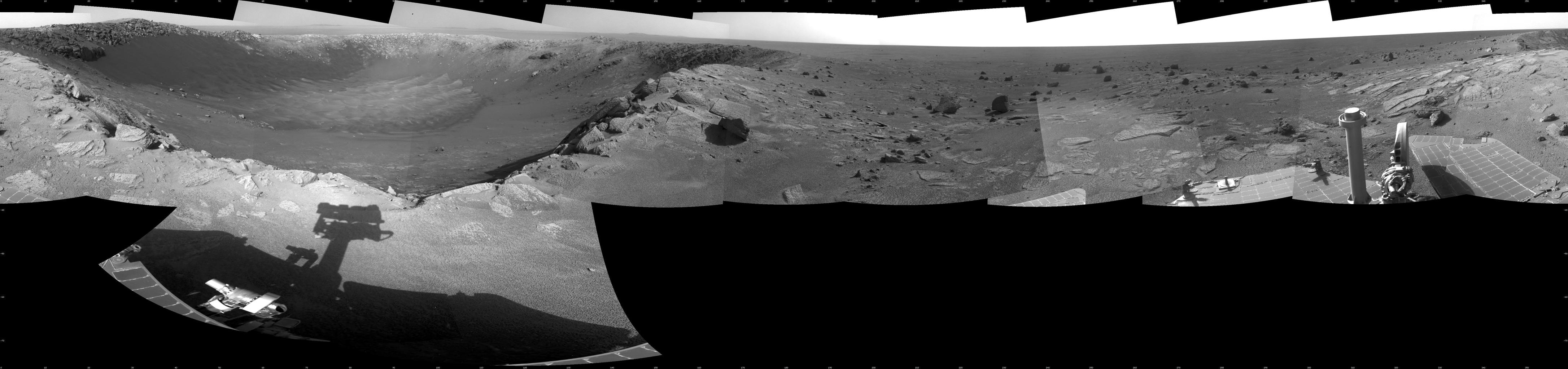 "This 360-degree mosaic of images from the navigation camera on NASA's Mars Exploration Rover Opportunity shows the view from the western rim of ""Santa Maria"" crater. South is at the center, north at both ends."