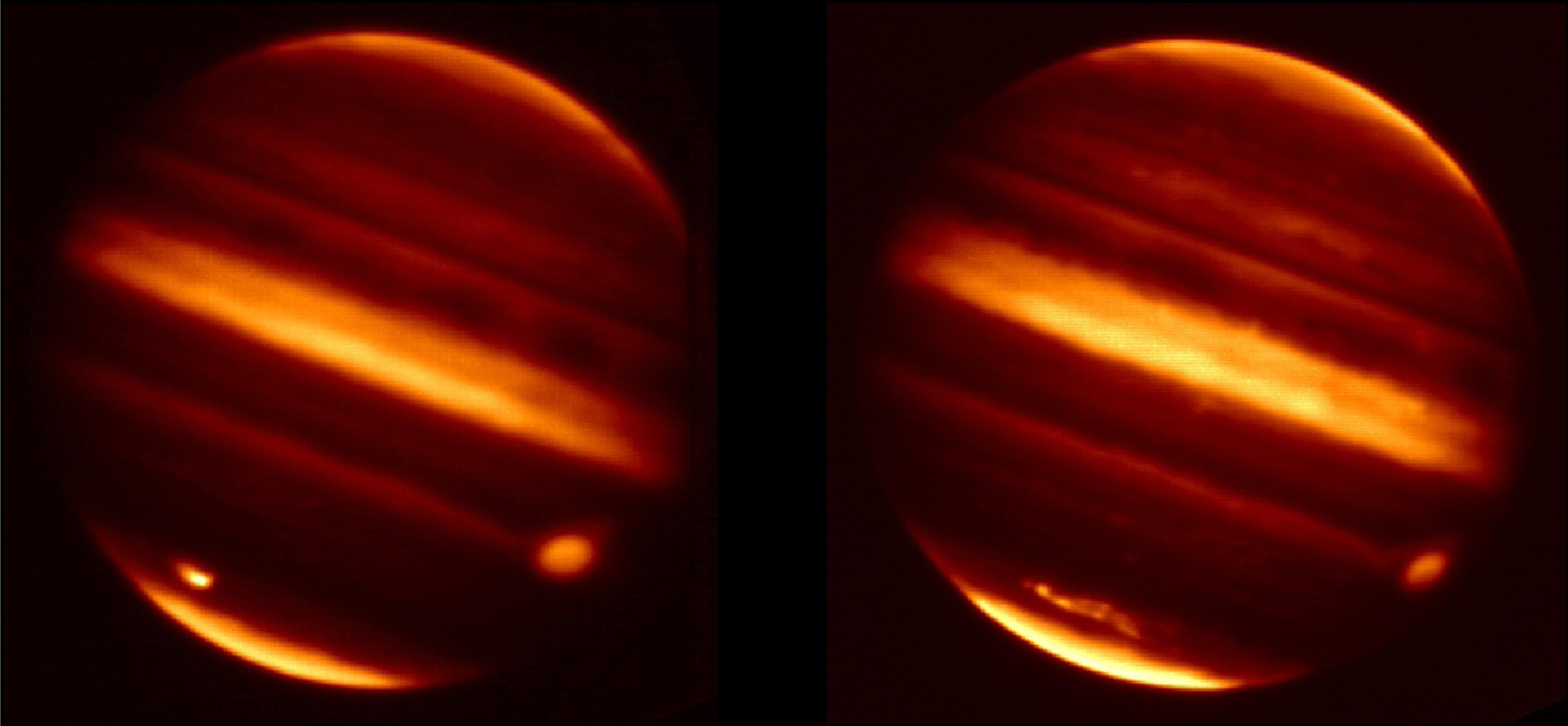 These infrared images obtained from NASA's Infrared Telescope Facility in Mauna Kea, Hawaii, show before and aftereffects from particle debris in Jupiter's atmosphere after an object hurtled into the atmosphere on July 19, 2009.