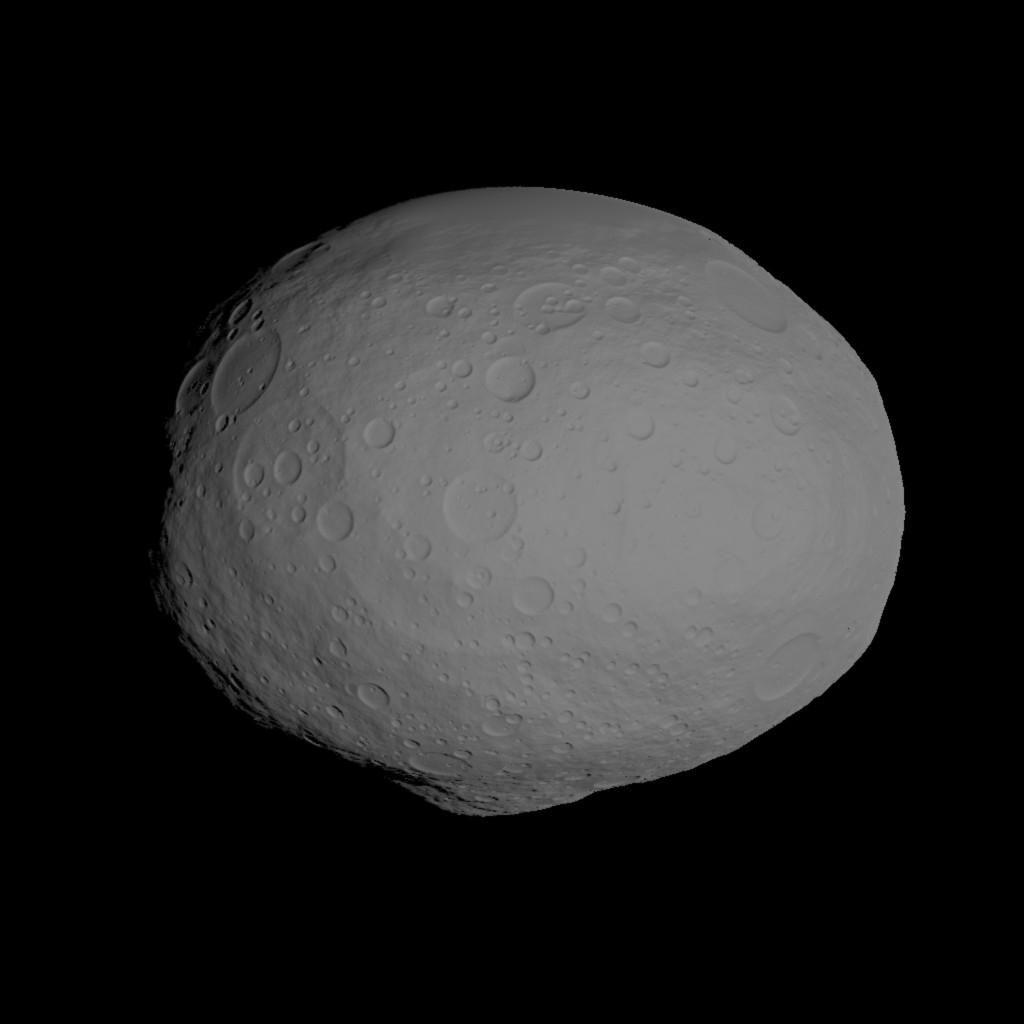 This image incorporates the best data on dimples and bulges of the protoplanet Vesta from ground-based telescopes and NASA's Hubble Space Telescope. This model of Vesta uses scientists' best guess to date of what the surface might look like.