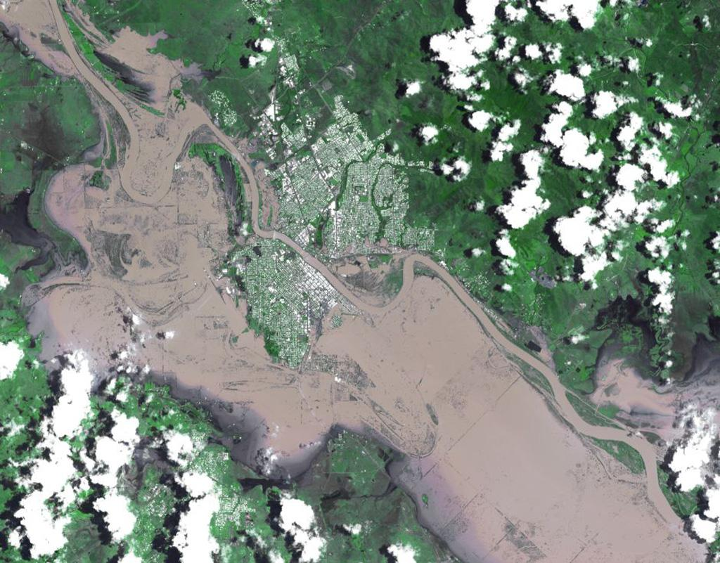 On Jan. 7, 2011, NASA's Terra spacecraft captured this image of the inundated city of Rockhampton, Queensland, Australia. Torrential rains in NE Australia caused the Fitzroy River to overflow its banks and flood much of the city.