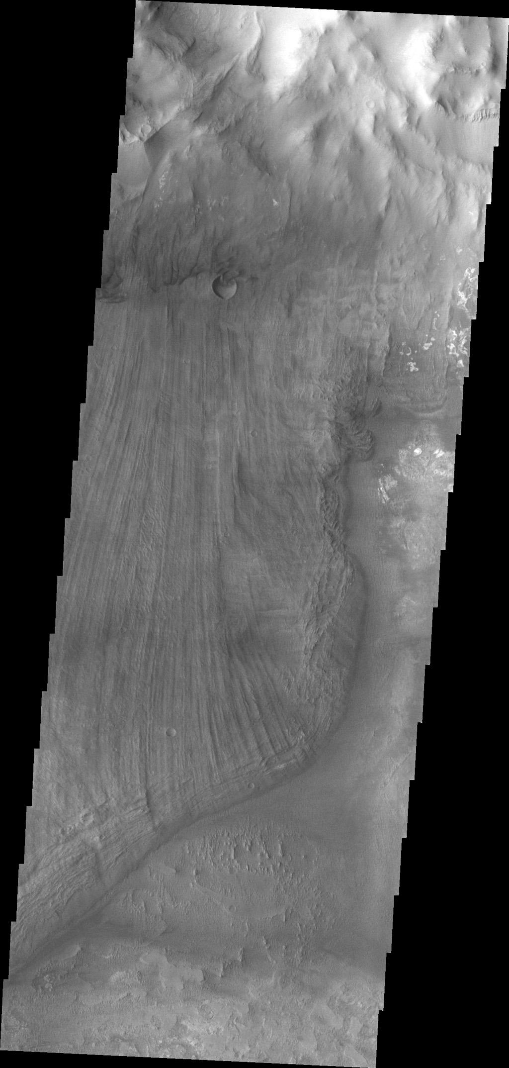 This image from NASA's Mars Odyssey shows a portion of a large landslide deposit in Ius Chasma.