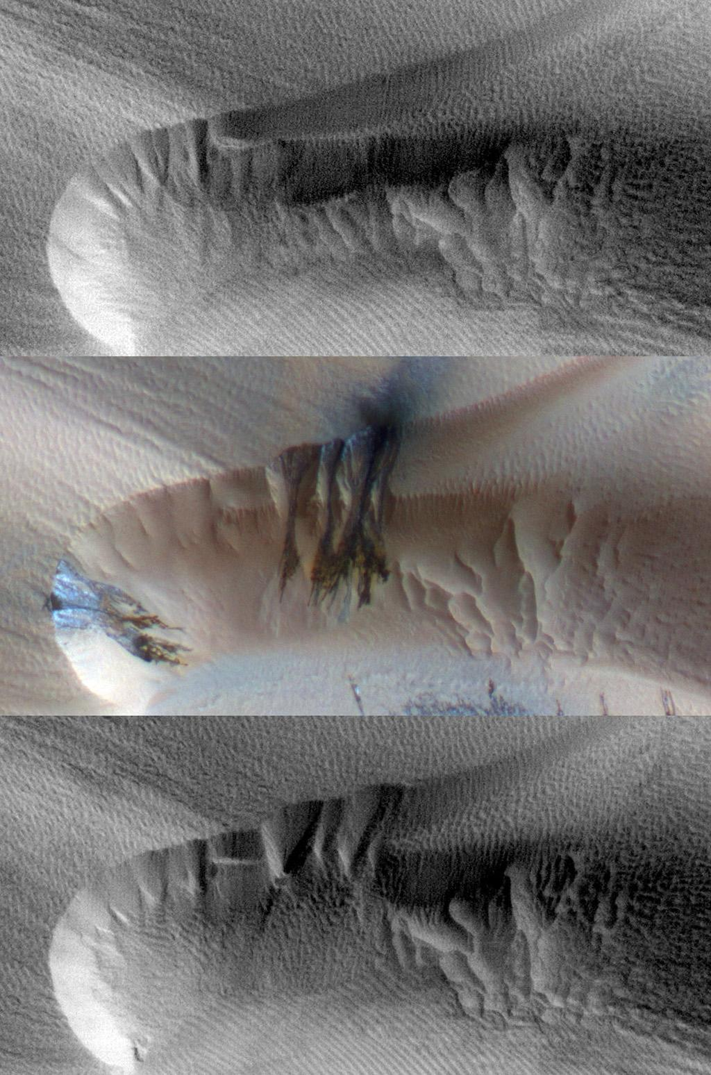 Three images of the same location, taken by NASA's Mars Reconnaissance Orbiter at different times on Mars, show seasonal activity causing sand avalanches and ripple changes on a Martian dune. Time sequence of the images progresses from top to bottom.