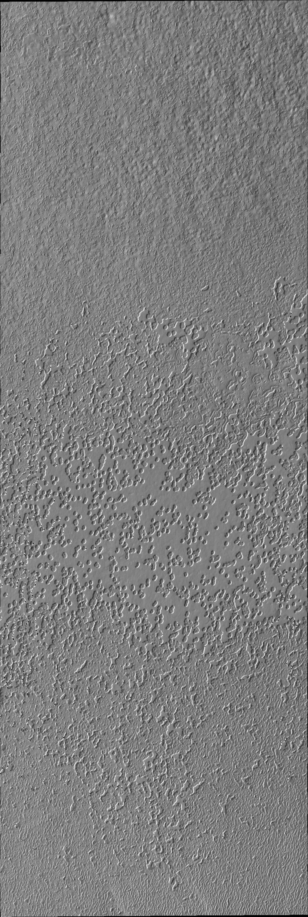 The pitted appearance of the south polar cap ice in this image from NASA's Mars Odyssey is similar to the appearance of a slice of swiss cheese.
