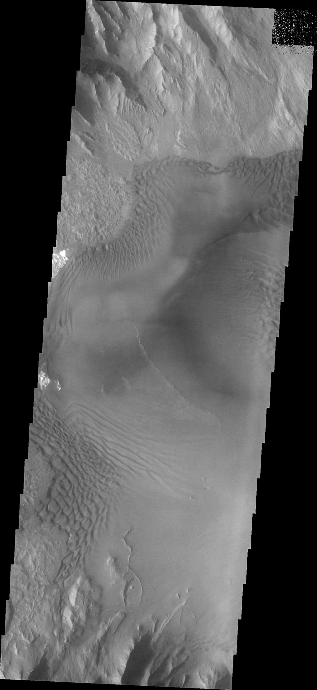 Dune forms cover the top of this sand sheet on the floor of Juventae Chasma, a chasma north of the Valles Marineris canyon system in this image from NASA's Mars Odyssey.