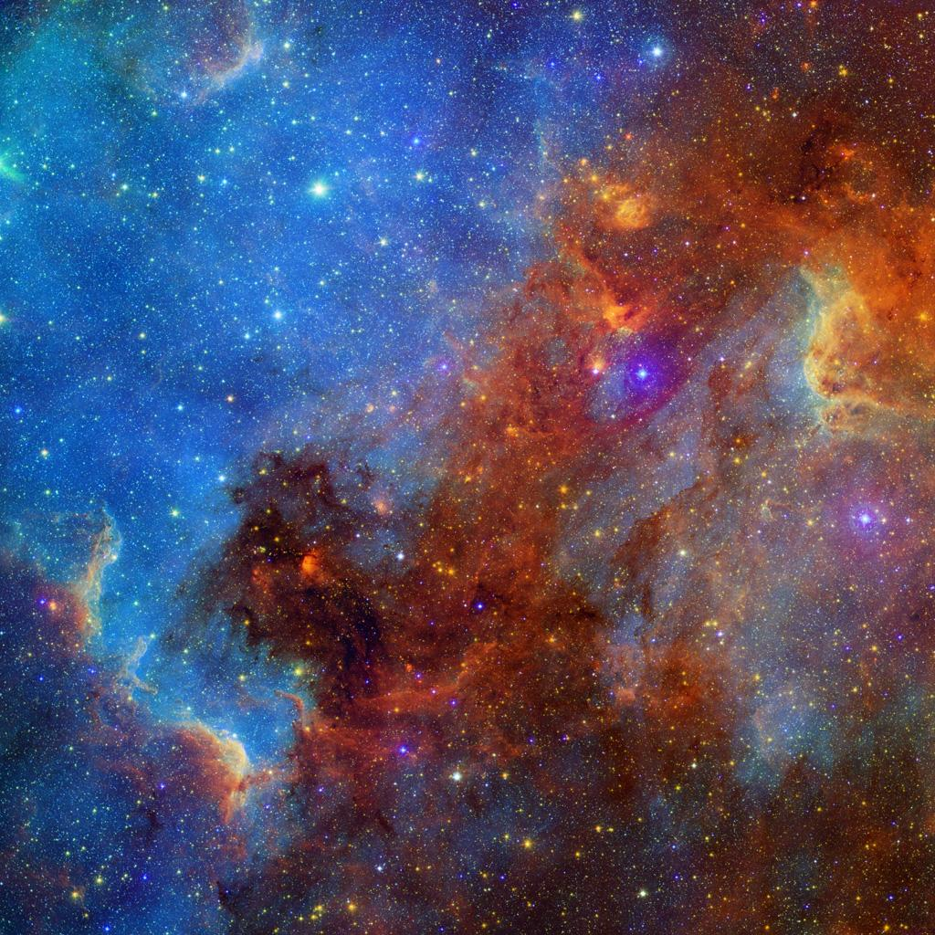 This view of the North America nebula combines both visible and infrared light observations, taken by the Digitized Sky Survey and NASA's Spitzer Space Telescope. Clusters of young stars (about one million years old) can be found throughout the image.