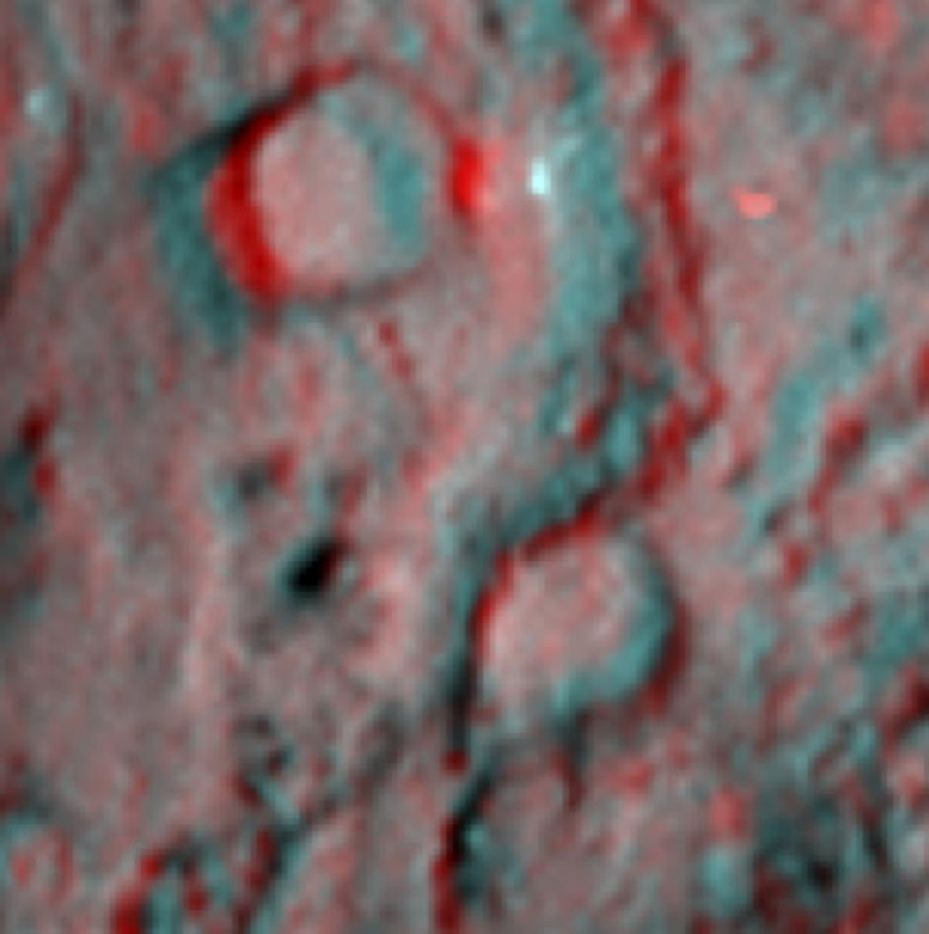 This 3-D image shows the region where NASA's Deep Impact mission sent a probe into the surface of comet Tempel 1 in 2005. This picture was taken six years after the Deep Impact collision. 3D glasses are necessary to view this image.